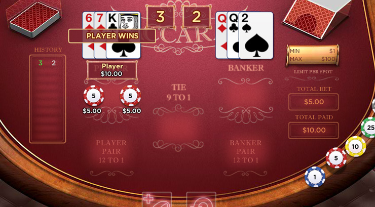Baccarat Card Game at 777 Casino