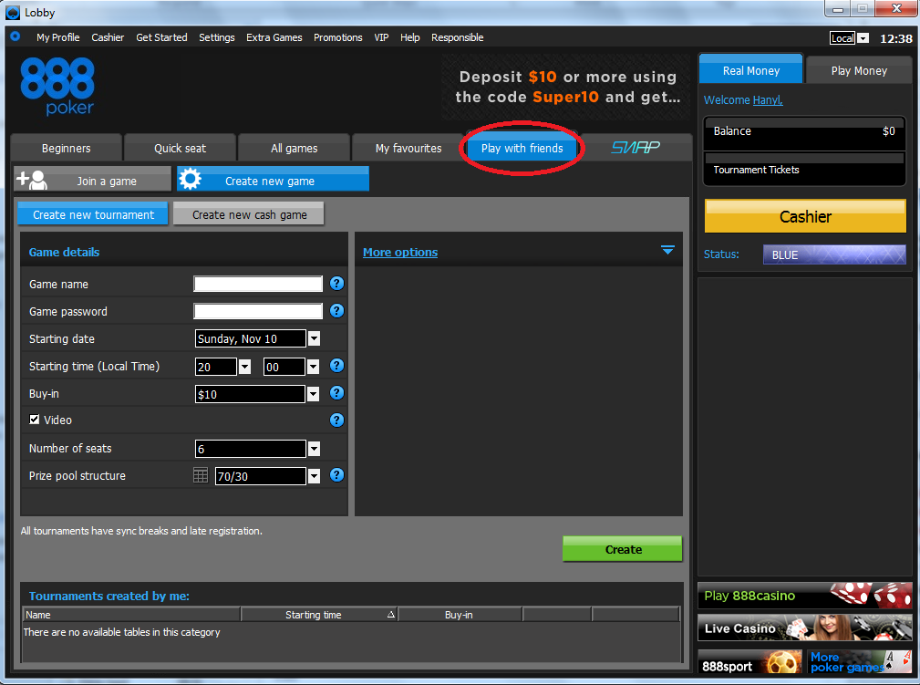 888 poker account login