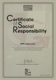 888games Certificate