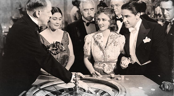 Casino players at the Roulette table in the old days