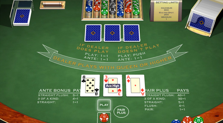 Triple Card Poker Card Game at 777 Casino