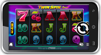 playing twin spin slot on mobile