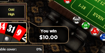 winning screenshot of a european roulette win