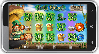 playing irish riches jackpot on mobile