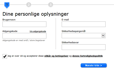 888 registrering step 1