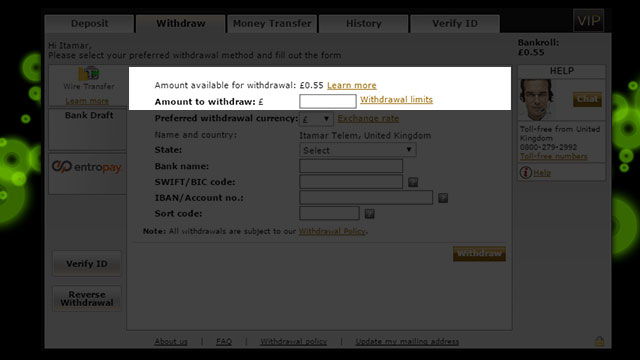 888 casino withdrawal policy